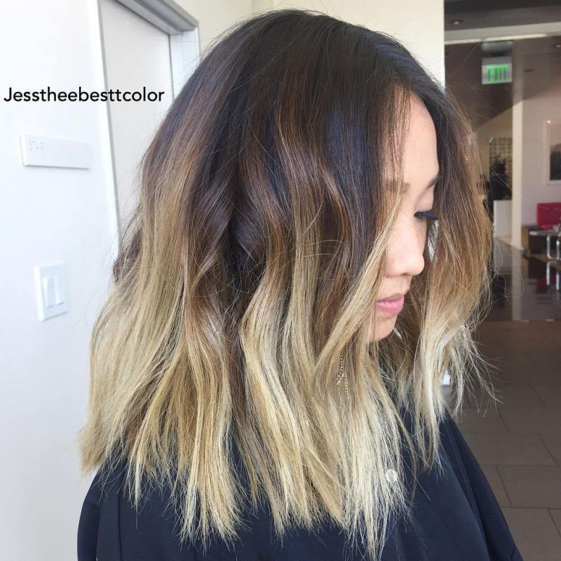 7 brown lob with blonde balayage ombre