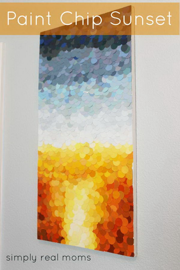 18 DIY Paint Chip Sunset Art