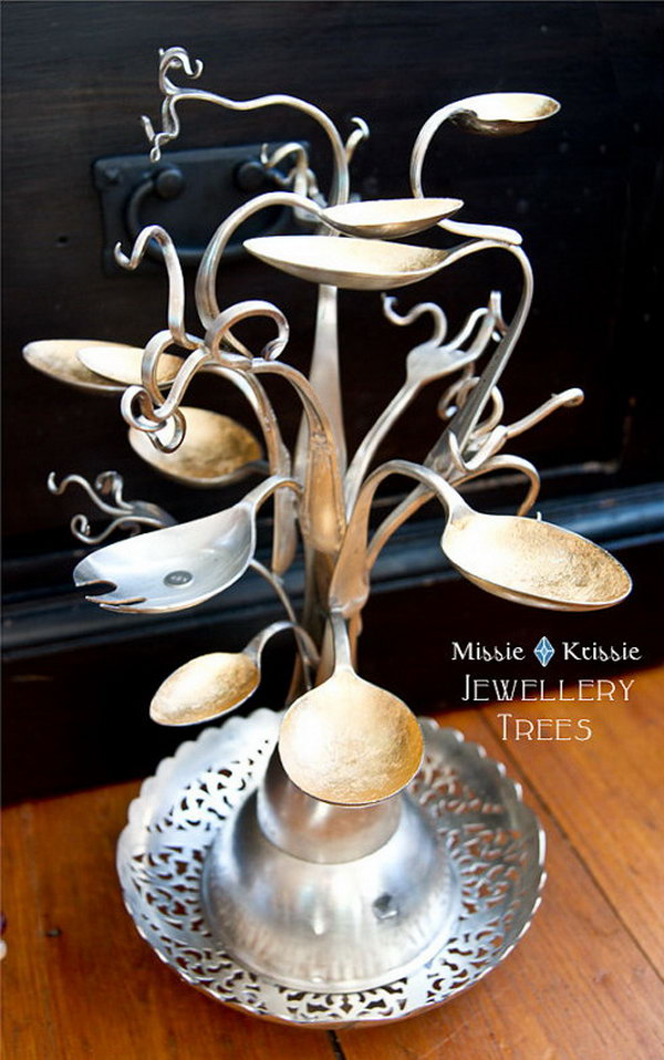 2 Jewelry Tree Made from Spoons and Forks