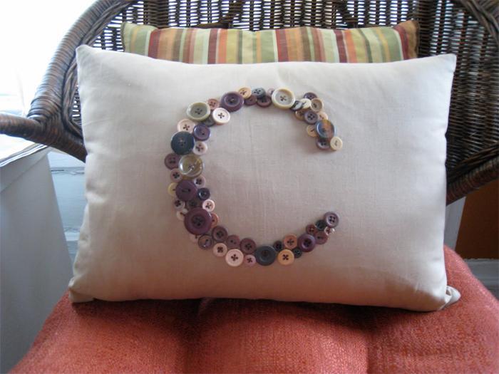 39 Buttoned Monogram Pillow