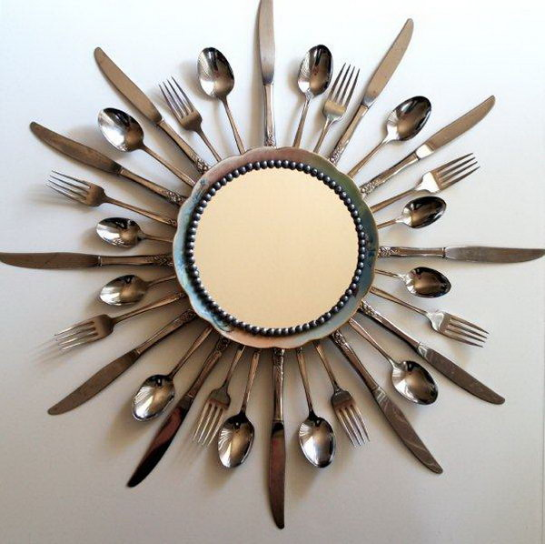 6 Sunburst Mirror Made With Old Kitchen Utensils