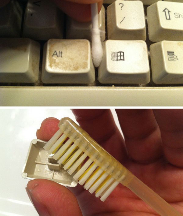 7 Clean Keyboards With Old Toothbrushes And Wet Cotton Swabs