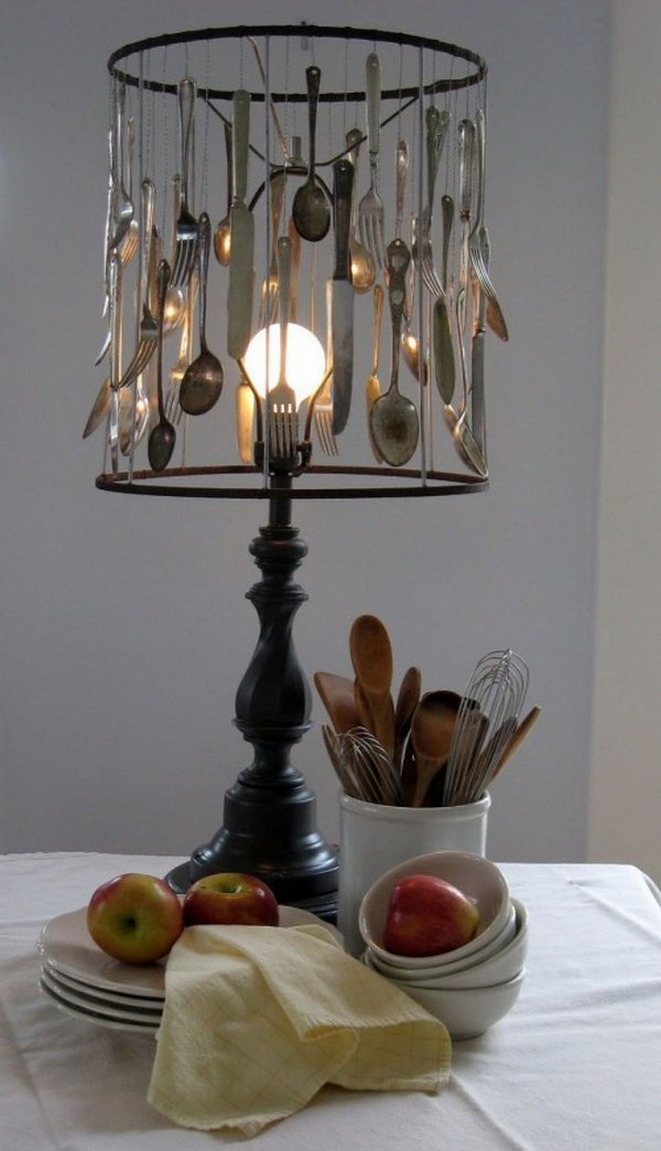 8 DIY Silverware Lamp