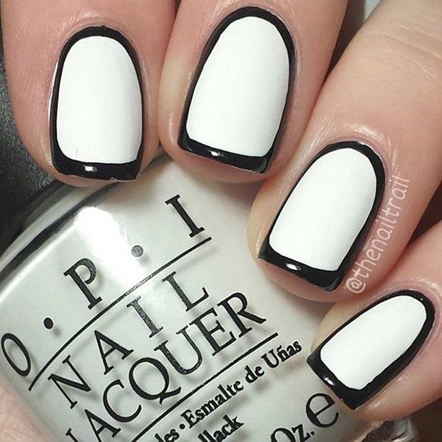 1 Black and White Borderline Nail Design