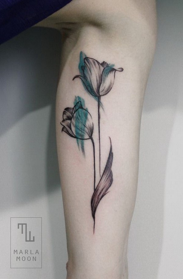 1 Feminine Watercolor Tulip Tattoo