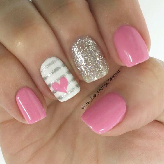 1 valentines nails