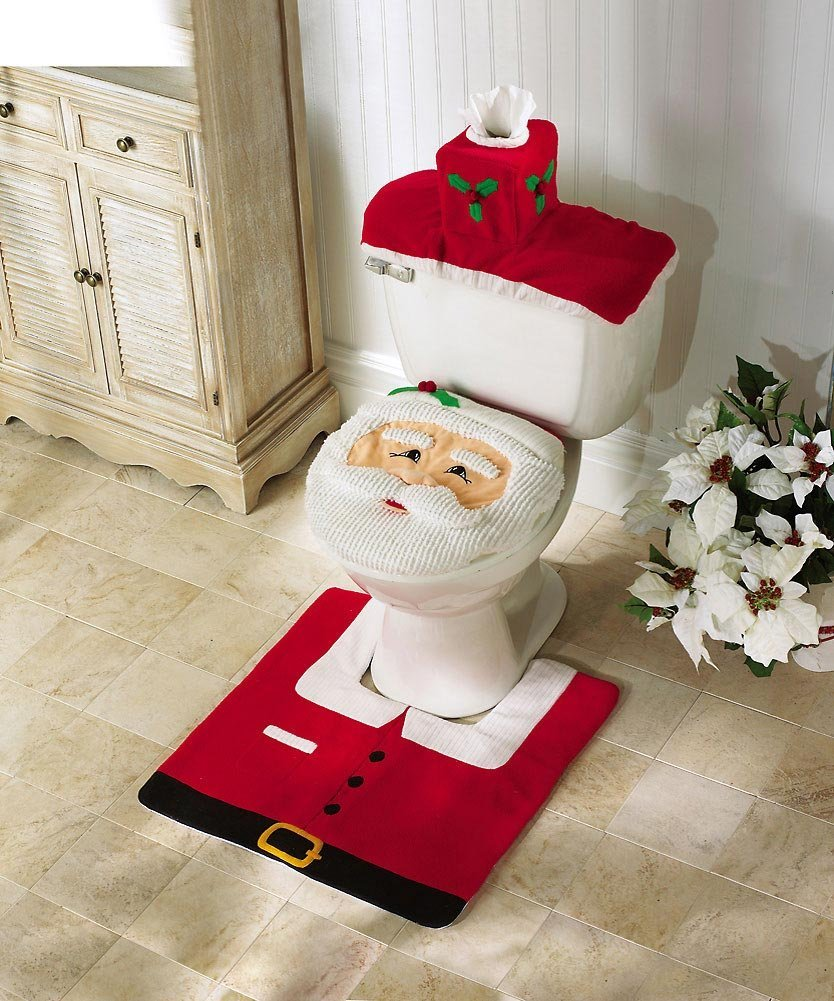 10 OliaDesign Christmas Decorations Happy Santa Toilet Seat Cover and Rug Set