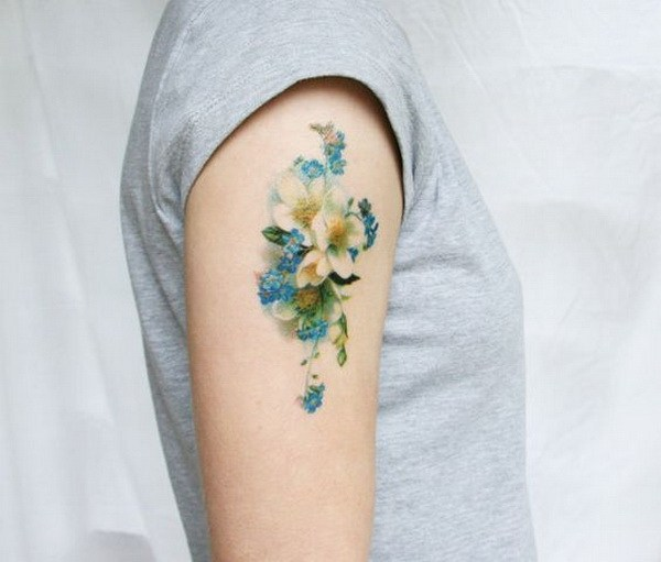 10 Vintage Blue and White Floral Temporary Tattoo