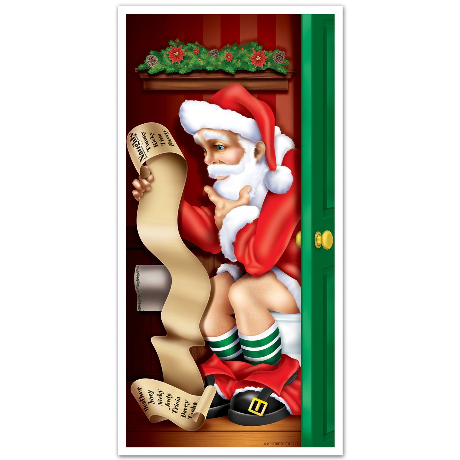 11 Santa Restroom Door Cover Party Accessory