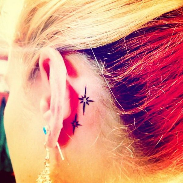 11 Second Star to the Right Tattoo Behind the Ear