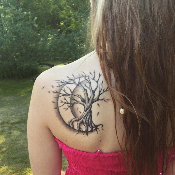 11 Tree Tattoo with Crescent Moon on Back Shoulder