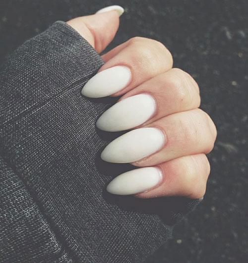 11 White Matte Stiletto Nails