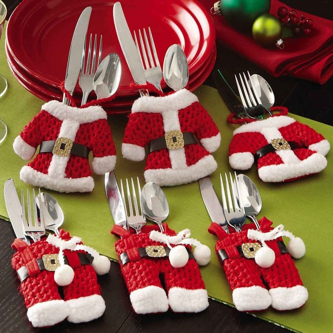 12 CellElection Santa Suit Christmas Silverware Holder Pockets Red