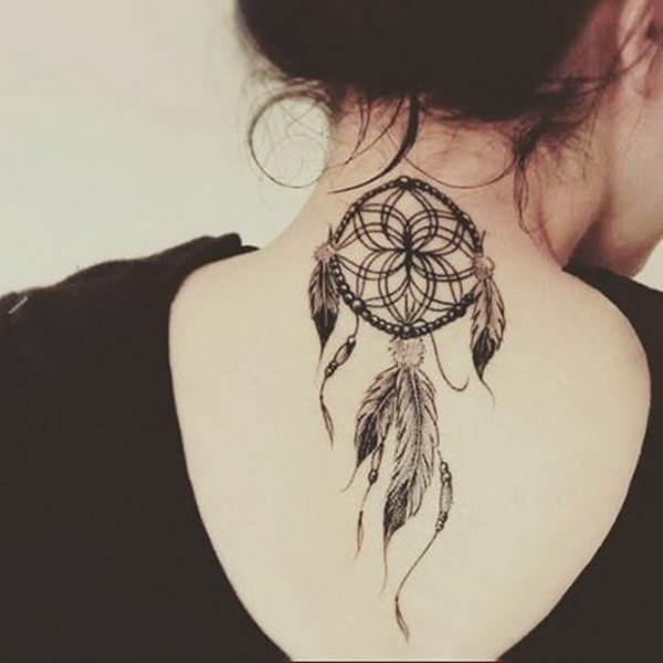 12 Dreamcatcher tattoo on the back of neck