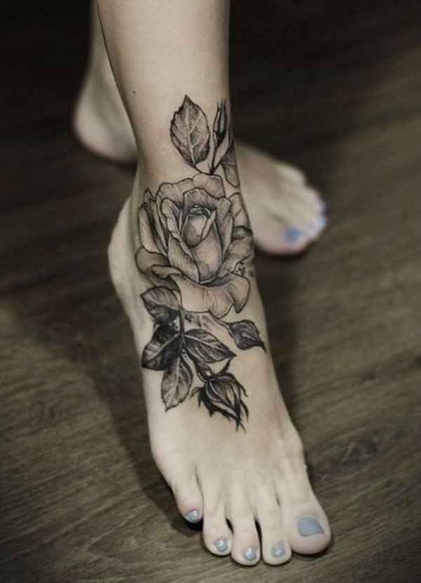 13 Gray Rose Flower Tattoo on Foot