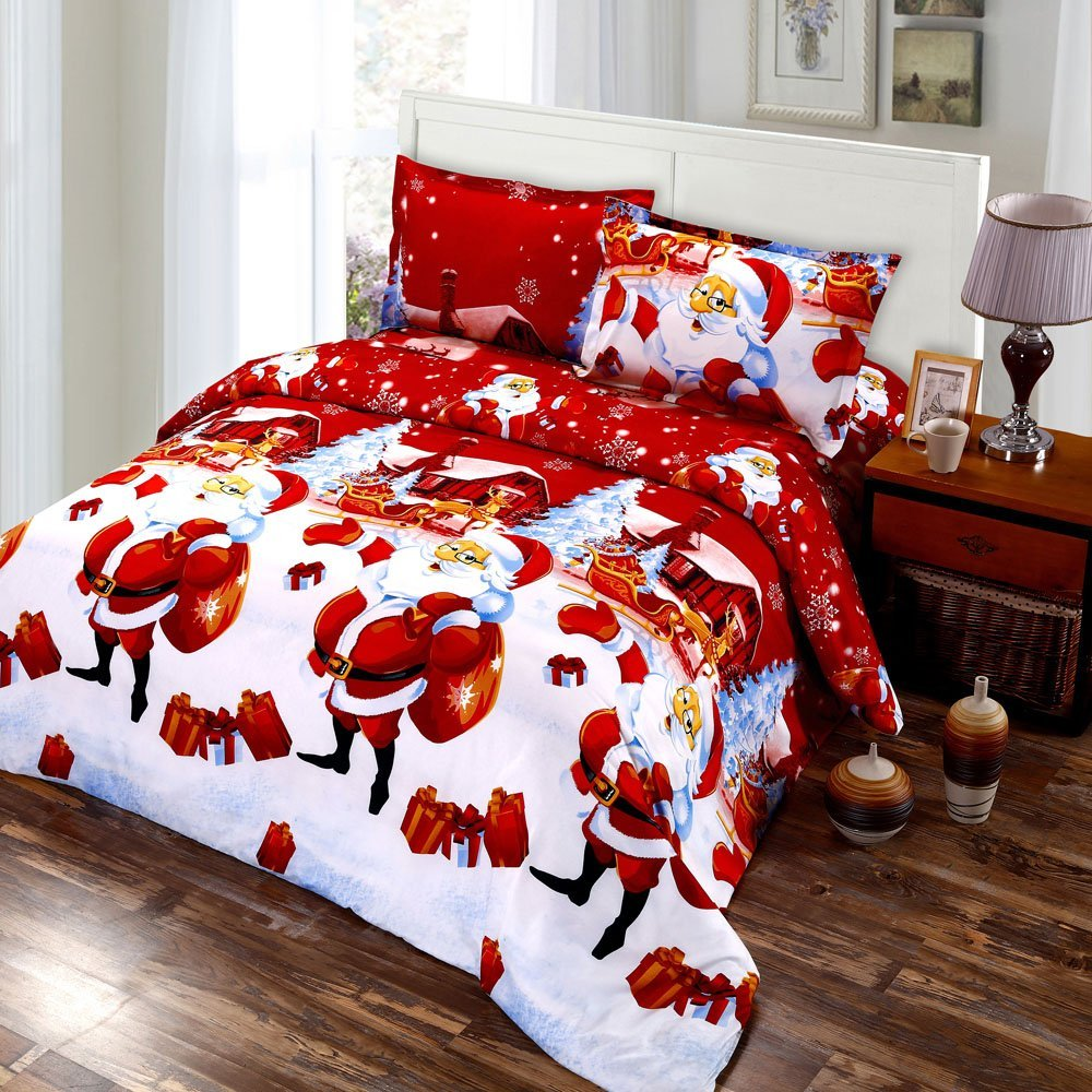 14 Anself 4PCS 3D Printed Cartoon Merry Christmas Santa Claus Comfort Bedding Sets