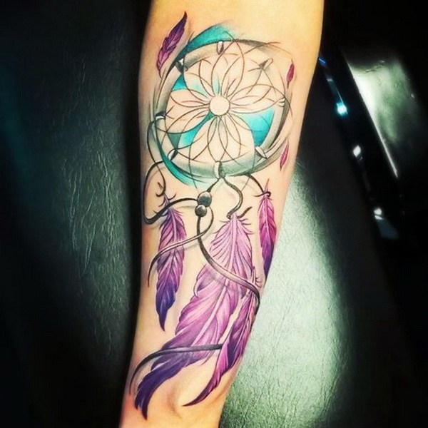 14 Colorful dreamcatcher tattoos