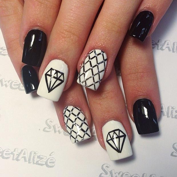 50 Best Black And White Nail Designs Page 14 Foliver Blog