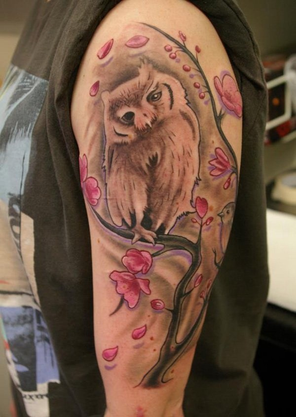 14 Owl with Cherry Blossoms Tattoo