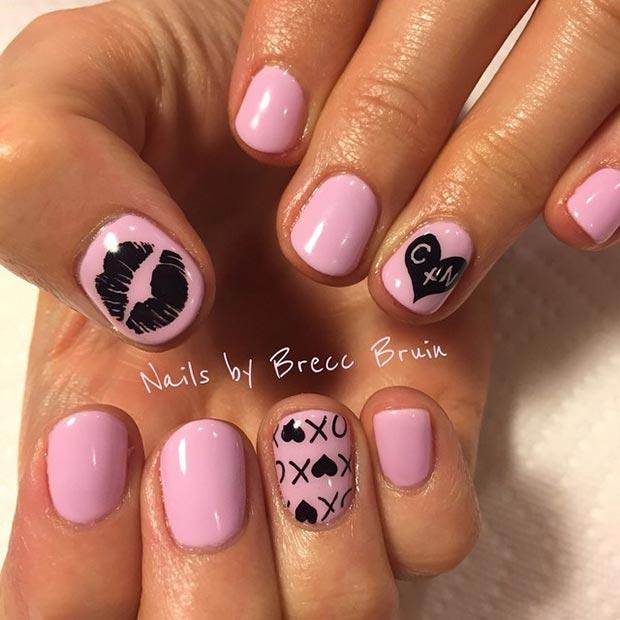14 Pink Black Nails