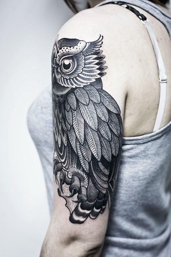 15 Black Owl Ink Tattoo