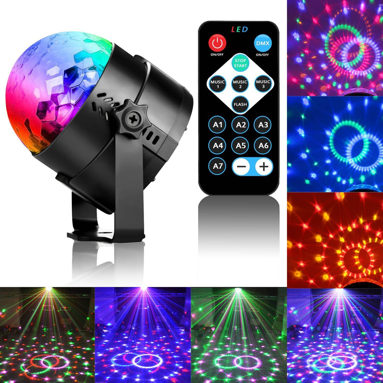 16 Disco Ball LED Party Dj Lights with Remote Control RBG Strobe Led Lamp 7 Modes