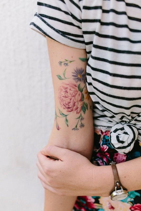 16 Watercolor Floral Tatoo Design