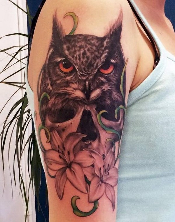 17 Black and Grey Owl and Flower Tattoo