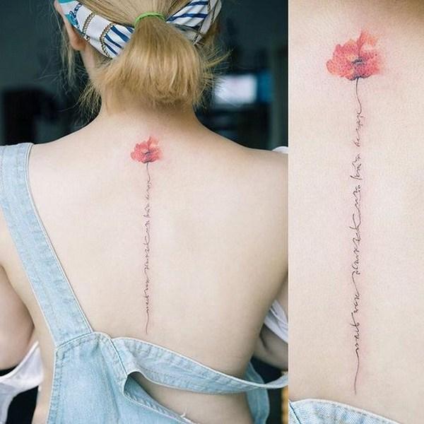 17 Sweet Flower Spine Tattoo