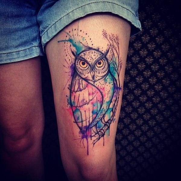 18 Watercolor Owl Tattoo on Thigh