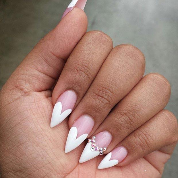 18 White Heart Tip Stiletto Nails