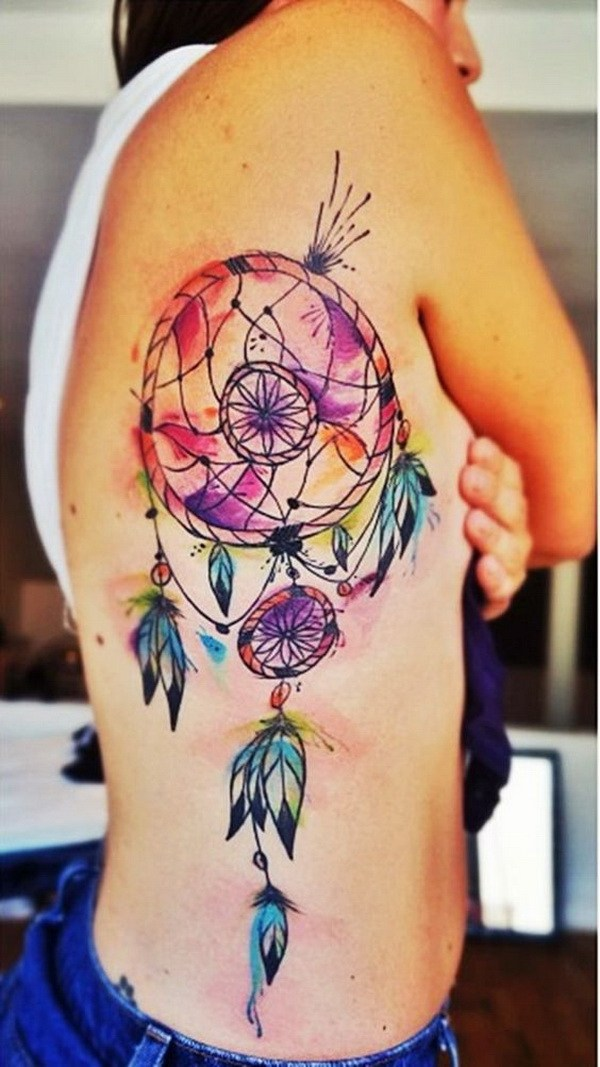 19 Colorful watercolor dream catcher tattoo on the side back