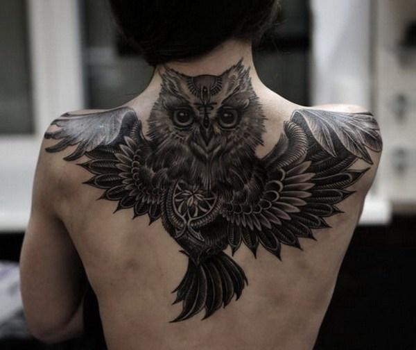 19 Full Black Owl Tattoo on Upper Back