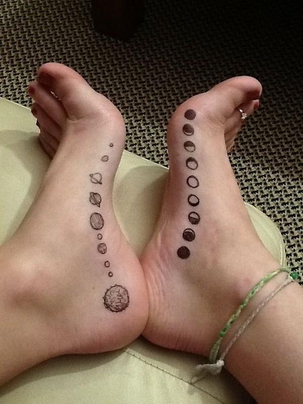 19 Moon Tattoo on Foot