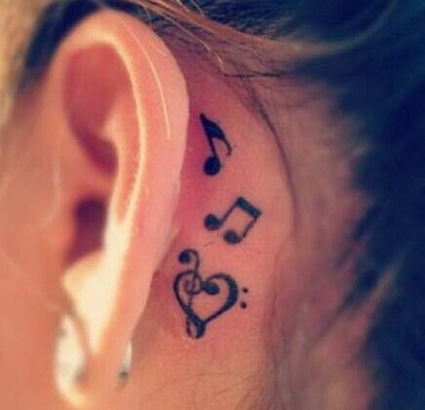 19 Music Notes Tattoo Behind the Ear