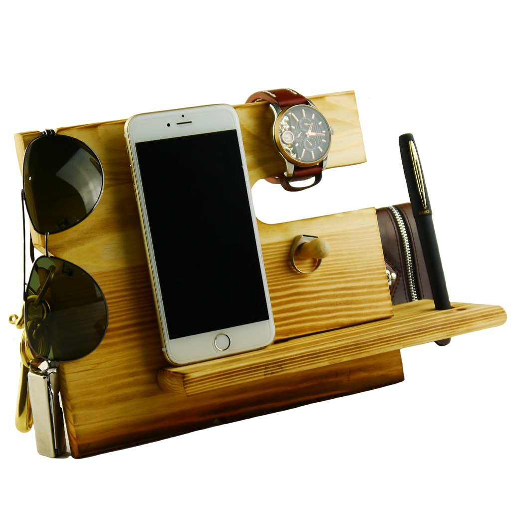 2 Lemo hand -Wooden Phone Docking Station with Key Holder