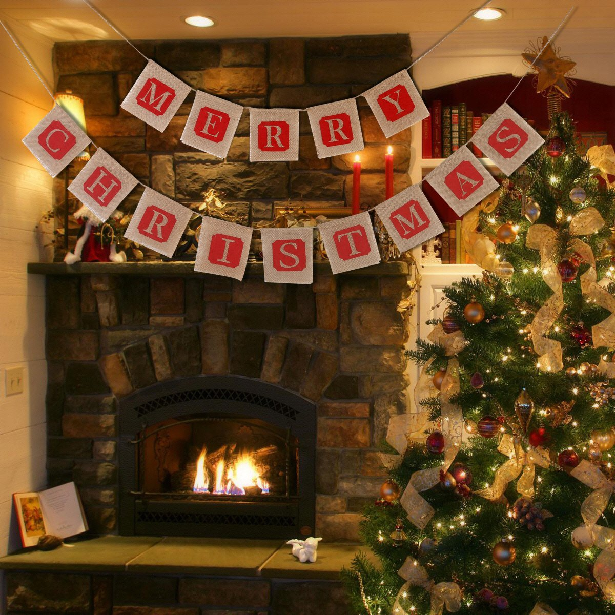 2 NUOLUX Merry Christmas Jute Burlap Banners