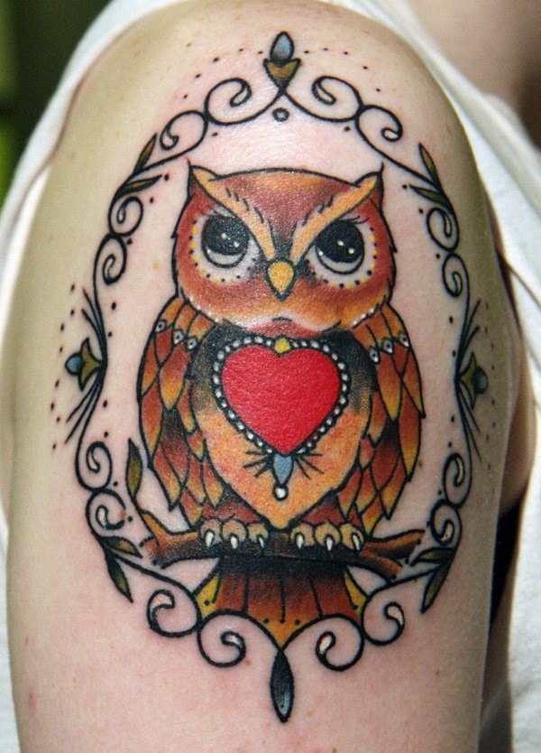 2 Owl Sleeve Tattoo