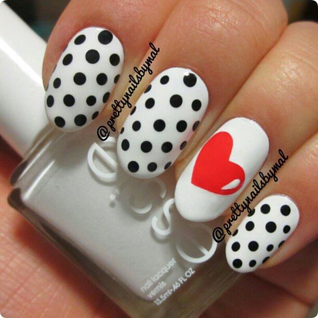 2 Polka Dot Heart Nails