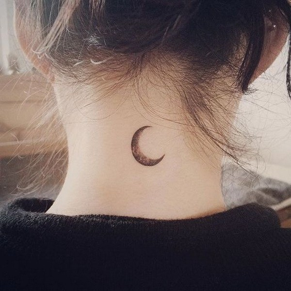 2 Simple Moon Tattoo on Back of Neck