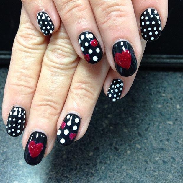20 Black Red White Nails
