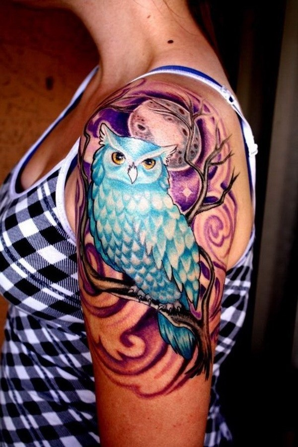 21 Owl Tattoo Design on Upper Sleeve