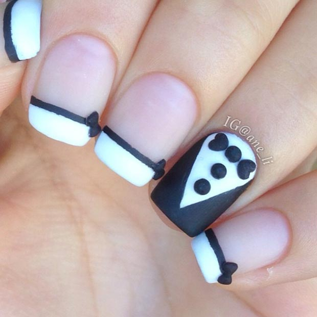 50 Best Black And White Nail Designs Page 21 Foliver Blog