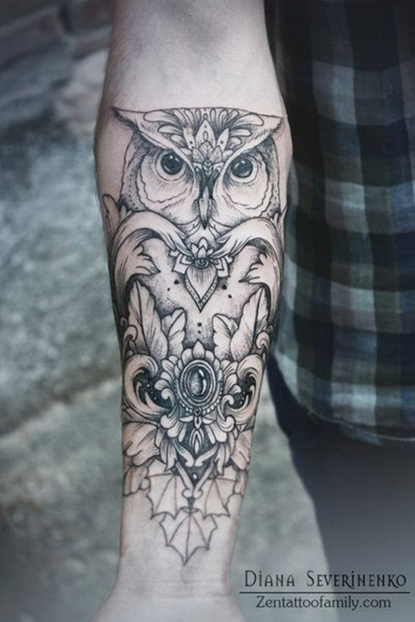 23 Forearm Tattoo with Owl Design
