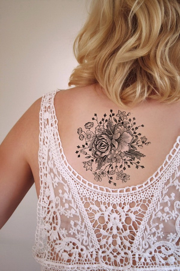 23 Large Vintage Floral Temporary Tattoo