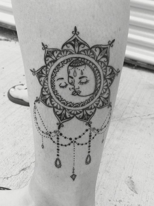 23 Vintage Boho Sun and Moon Mandala Tattoo