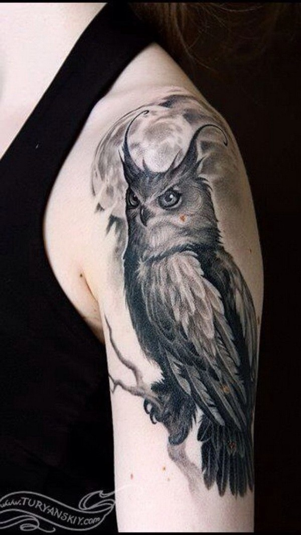 24 Gray Owl Tattoo Design Sleeve
