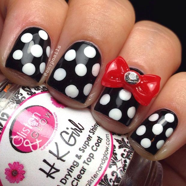 24 Polka Dot Nails with a Pop of Color