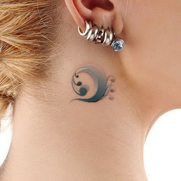 24 Water Wave Tattoo Behind The Ear