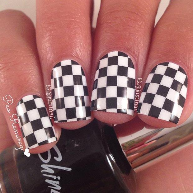 26 Checkered Nail Design